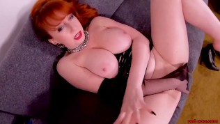 Red XXX gets off while stuffing her pussy with toys