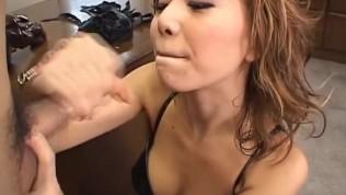 Asian Slave Blowjob - Asian mistress gives her slave a rough blowjob
