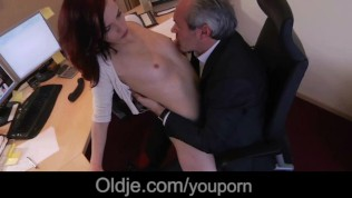Kinky Young Secretary Sucking Boss Old Cock Hardcore Cum In Mouth