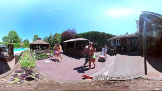 3-Way Porn – VR Group Orgy By The Pool In Public 360