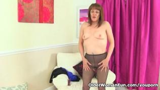 Mature Pandora Porn And Pascal - English gilf Pandora fucks her pantyhosed pussy with a dildo