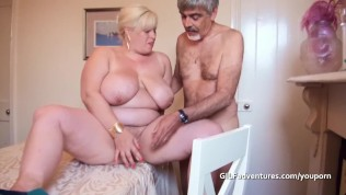 Old busty granny fucked and bottled by partygoer