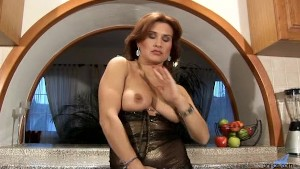Valentine Rush lesbian sex with strap on dildo
