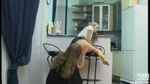 Lesbian sweethearts kissing and licking