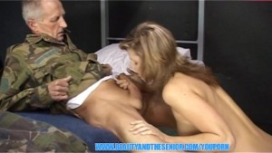 Young army girl riding an old veteran