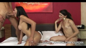 Guy Banged By Two Trannys