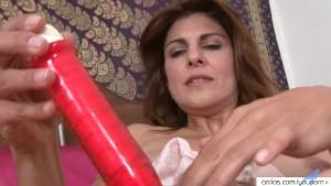 Busty Mom In Lingerie Fucks Her Big Red Dildo