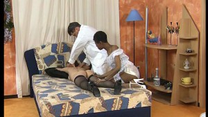 Lady gets a double team massage