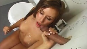 Pretty Brunette Blowjob And Facial At Gloryhole