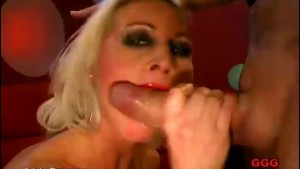 Horny girl deepthroat and covered in cum