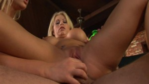 Two blonde moaners and a stiff cock