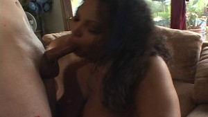 Large and lovely black girl fucks his cock with her mammoth tits