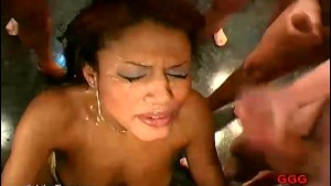 Caribbean chick swallowing cum
