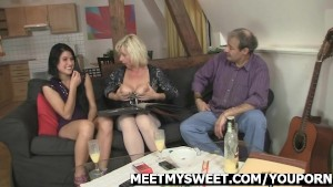 Older dad and mom bang their son s GF