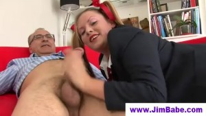 Fishnet babe sucking off lucky old man