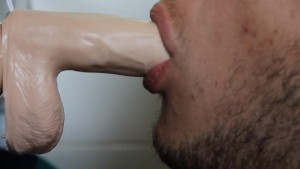 Guy deep throat a sex toy