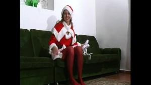 Svenja strips in christmas spandex (clip)
