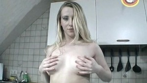 Blonde girl spreading pussy and quick handjob