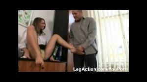 Footjob with a lewd sexy secretary