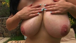 Busty Mandy strips and masturbates outside - CzechSuperStars