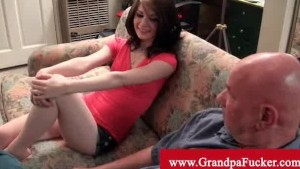 Sensi pearl is naughty with old man cock