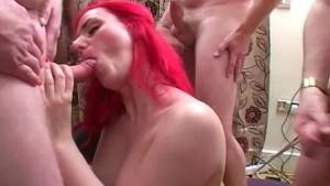 British redhead gets spunked on in bukkake party