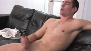 luxury guy jerking off on the leather