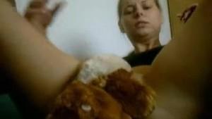 Blonde gf masturbates with stuffed toy