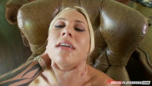 Horny big-tit blond girlfriend Alanah Rae teases her BF for sex