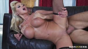 Blonde busty MILF Nikita Von James crashes party & rides big-dick