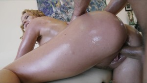 Beautiful blond girlfriend Krissy Lynn is rubbed down and fucked