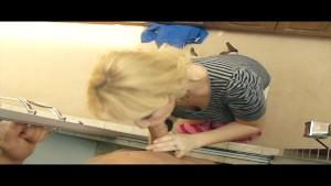 Slutty blond MILF Alana Evans fucks her son's friend in shower