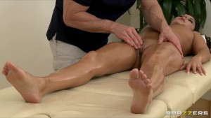 Horny stressed out brunette Nikki Daniels fucked by her masseur