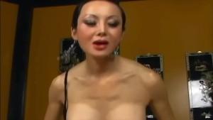 Skinny long haired asian fucking in black lingerie