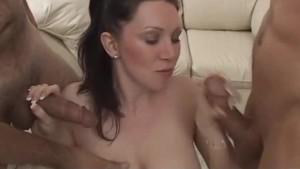 Big Tits MILF Rayveness Strips and Sucks 3 Cocks