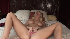 Big Breasted Blonde fucks herself with her pink dildo - DreamGirls
