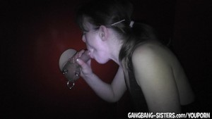 My wife drains a cock at the gloryhole