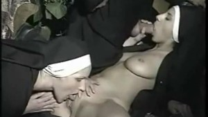 Italian priest with two nuns