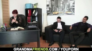 Office lady pleases two cocks