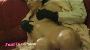 Sexy amateur Zuzinka plays with horny couple