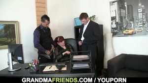 Office woman pleases two cocks