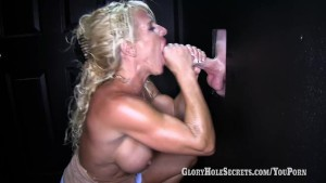 Gloryhole Secrets Gina sucking and swallowing complete strangers.