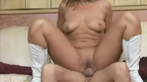 dirty amateur milf takes a big load on her feet