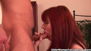 Grandma with bushy cunt enjoys his hard cock