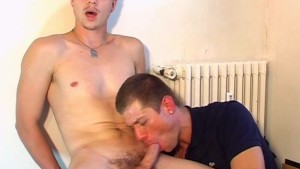 A real straight guy gets sucked his big dick by our assistant !