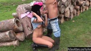 Brunette teen Angelica gets nailed outdoors