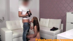 FakeAgent Cute innocent brunette fucked in Casting interview