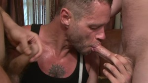 Tattooed guy sucking 2 cocks - Factory Video