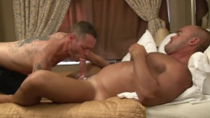 Tattooed guy sucks and strokes dick - Factory Video