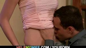 Sexy brunette wife cuckolds husband
